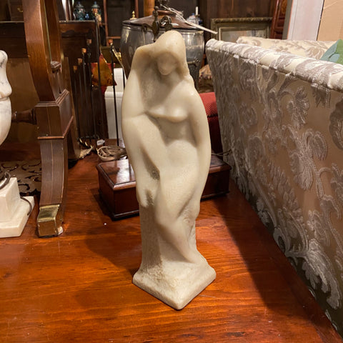 White Marble Figure of a Woman Sitting