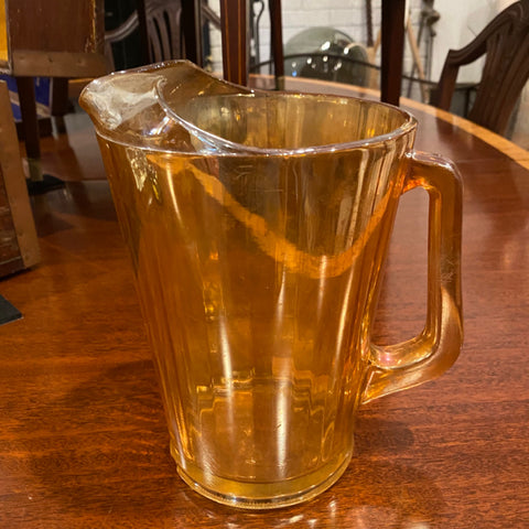 Orange Opalescent Glass Pitcher