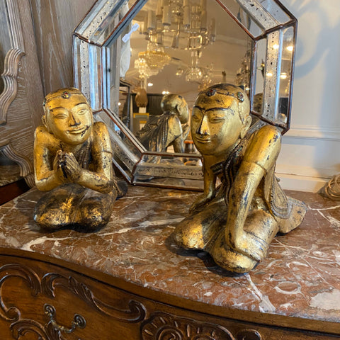 Pair of Gilded Burmese Praying Monk Statues