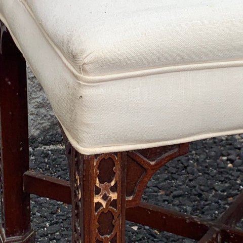 Pair of Chippendale Stools with White Linen Seats
