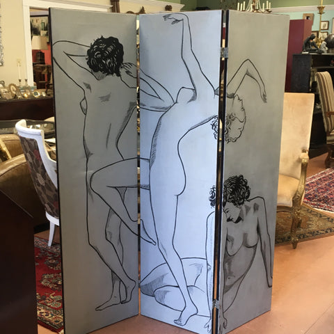 Hand-painted 3 Panel Folding Screen