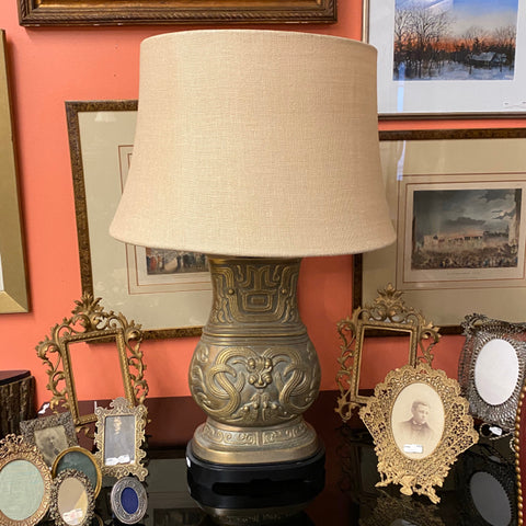 Asian Gold Tone Metal Lamp on Stand