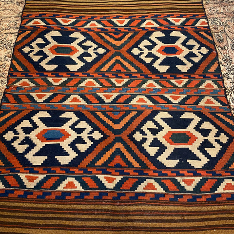"Geometric Kilim with Striped Ends 3'2"" x 4'10"""