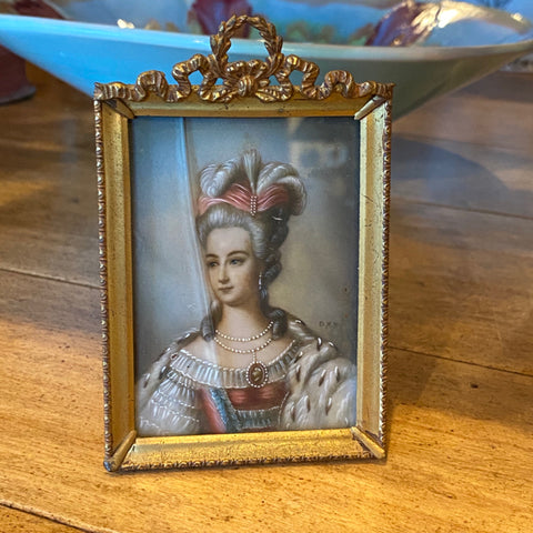 Small Portrait Painting in Bronze Frame with Bow