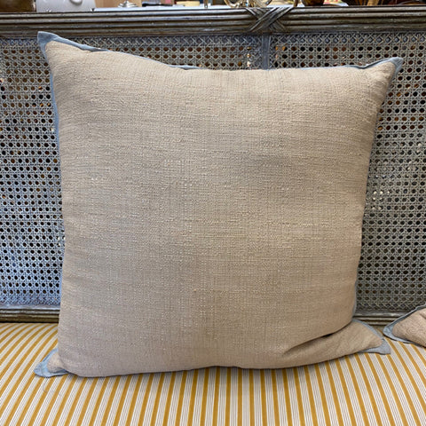 Sand Linen Pillow with Sage Green Tipping