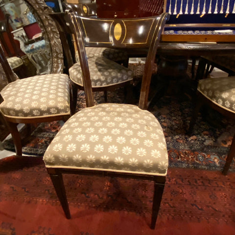 Neoclassical Brass Inlaid Dining Chairs, Set of 10