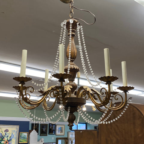 Bronze & Carved Wood Chandelier with Crystal Strands