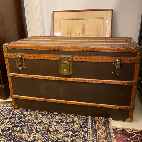 Hartman by Yale Leather Trunk with Intitals AD
