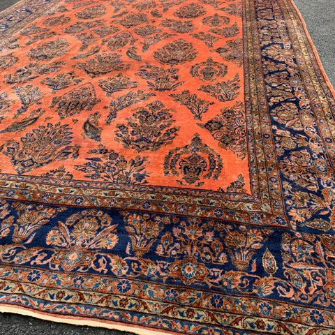 "Coral & Royal Blue Persian Sarouk Rug 10'7"" x 20'4"""