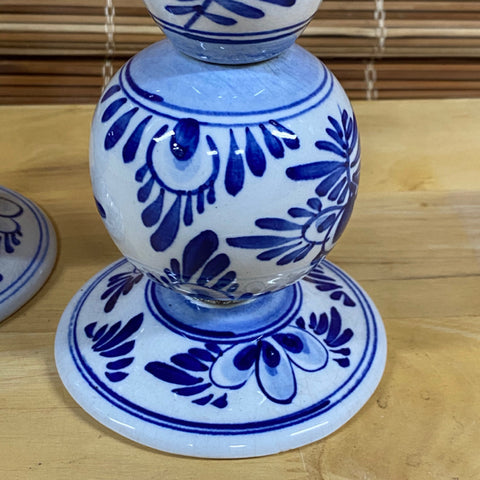 Pair of Blue & White Ceramic Candlestick Holders