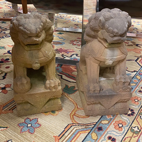 Pair of Sandstone Foo Dogs Statuary