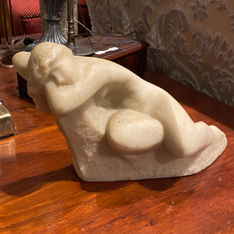 White Marble Figure of a Woman Reclining