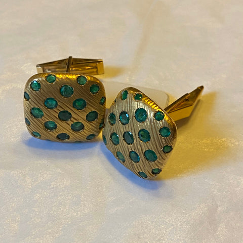 18k Emerald Cuff Links