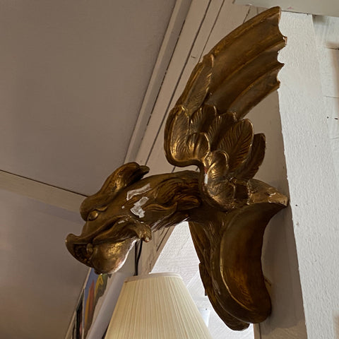 Gilt Wood Carved Winged Dragon Head Wall Hanging