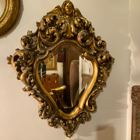 Gilt Mirror with Putti Face