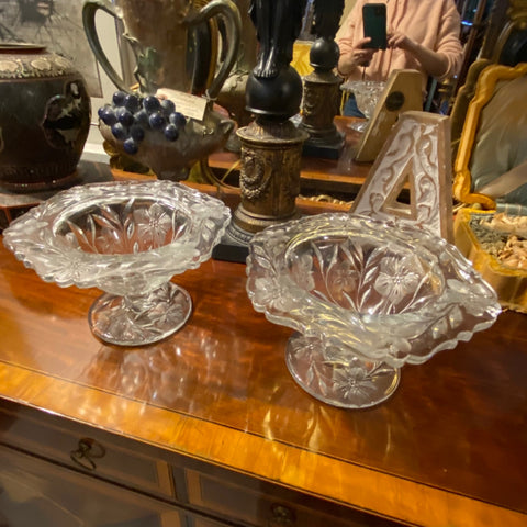 Pair of Floral Glass Bowls
