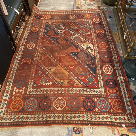 Orange Geometric Turkish Rug 4' x 5'8""