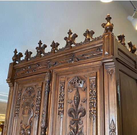 Antique Carved Wood Armoire