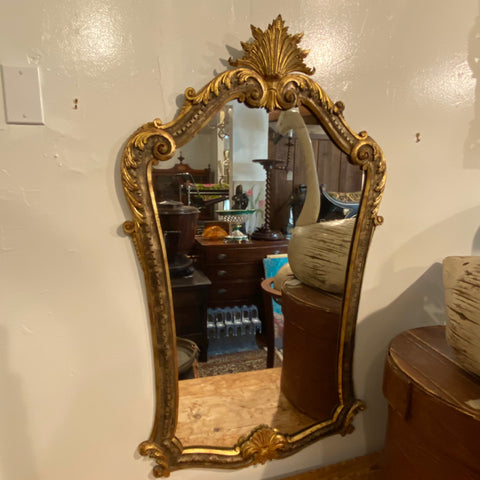 Gilt Shell Crest Mirror with Scrolling
