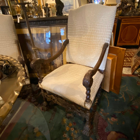 Pair of Cream High Back English Carved Wood Chairs