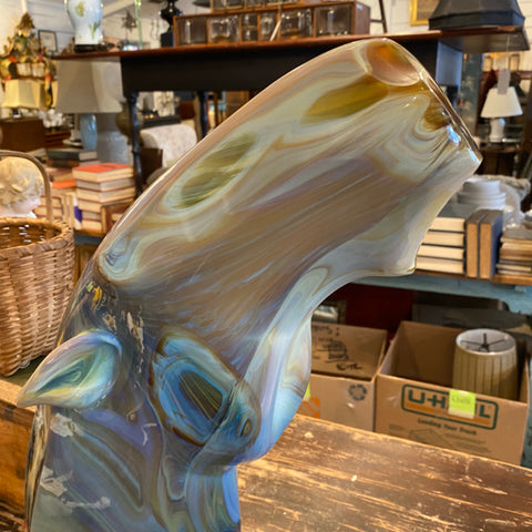 Lorendano Rosin horse Bust Glass Sculpture on Base