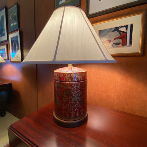 Red & Gold Porcelain Lamp with Ivory Silk Shade