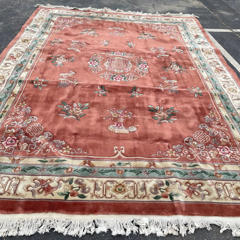 Pink Cream & Sage Asian Floral Rug 9'x 12'