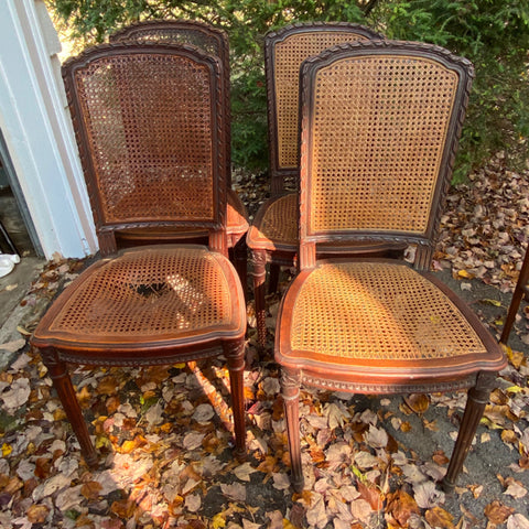 French Carved Wood Framed Chairs, with Caning,Set of 4, As Is