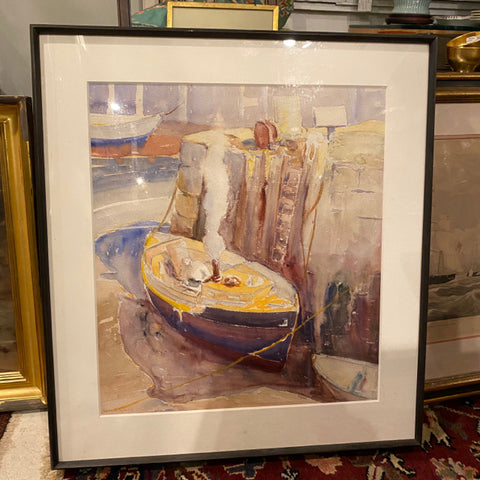 Charles Gruppe Watercolor of Boat Docked