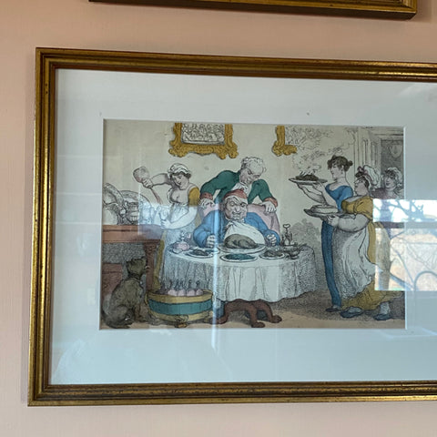 Satirical Caricature Print Depicting a Turkey Dinner