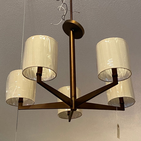 Bronze Colored Contemporary 5 Arm Chandelier with Shades