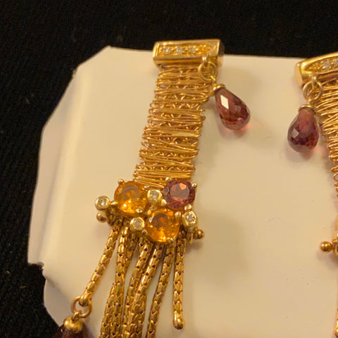 14k Diamond, Citrine and Tourmaline Earrings