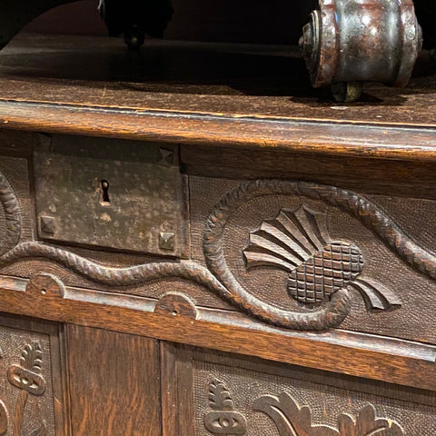 Small Carved Wood Chest Trunk