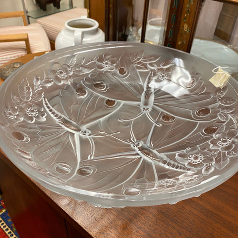 Crystal Butterfly Dish, Signed