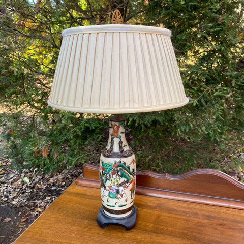 Chinese Lamp on Wood Base with as is Pleated Shade