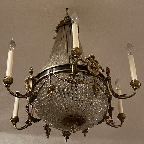 Neoclassical Chandelier with Swag Embellishments, 6 Arm