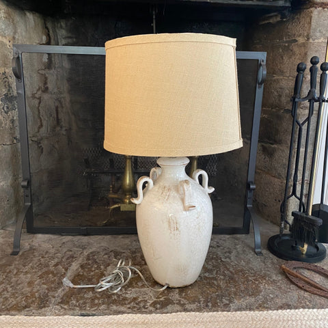 White Pottery Vase Lamp, Burlap Shade