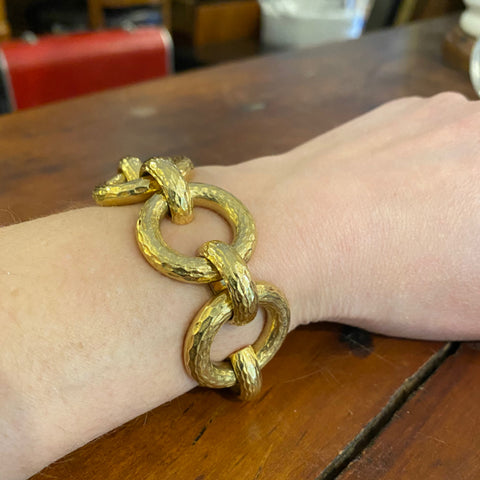 18K Yellow Gold Flexible Link Bracelet German, Late 20th century