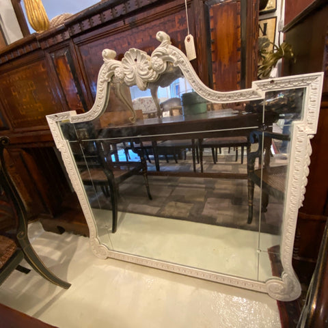 Carved Wood White Frame Mirror with Etched Detail
