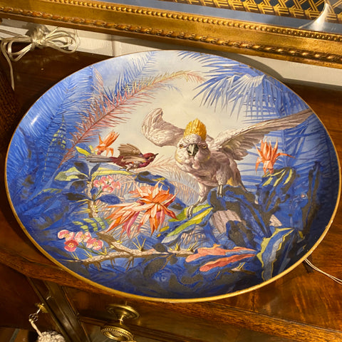 Signed Porcelain Painted Platter Charger