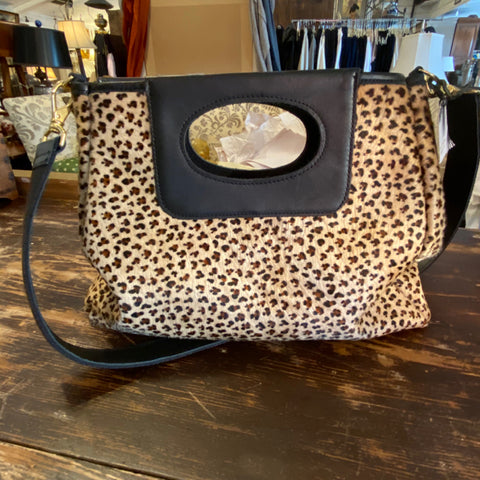 The Cassie Leopard Print Hair on Hide Tapered Body Bag