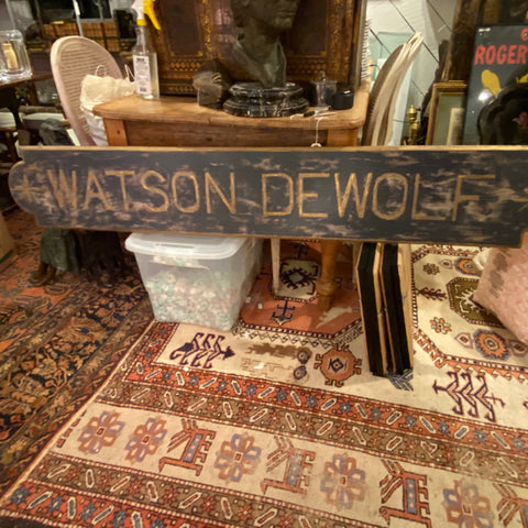 Watson de Wolf Wooden Painted Sign