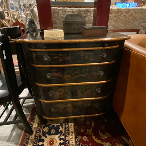 Black Chinoiserie Style Chest of Drawers with Pull Out Tray