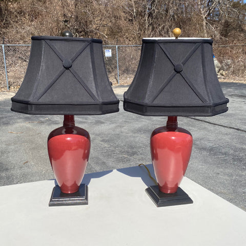 Pair of Red Ceramic Lamps, Black Shades