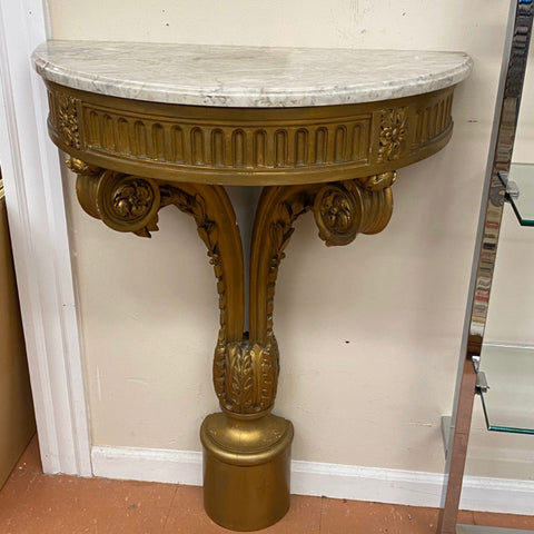 Pair of Marble Top Demiluneson Gilt Scroll Pedestals