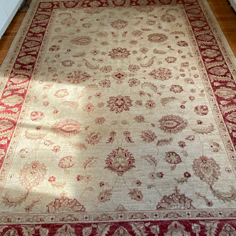 "Beige and Red Persian Rug 6'2"" x 8'4"""
