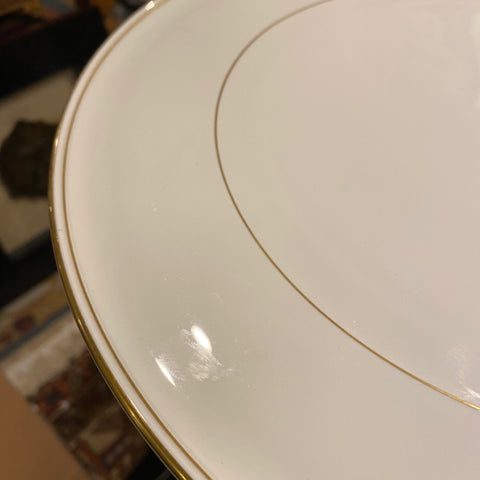 White Plate Platter with Gold Rim