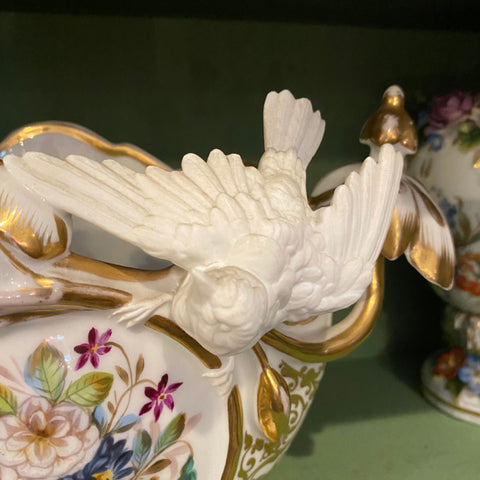 French Porcelain Vase with Flowers & Birds