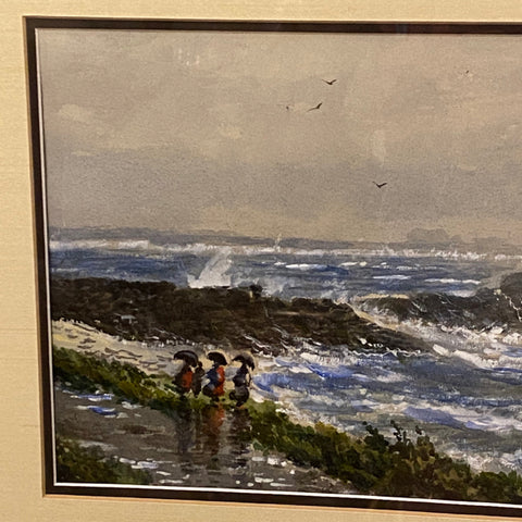 Emund Darch Lewis Ocean Scene with Ladies on Beach