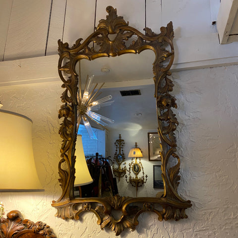 Heavily Carved Wood Framed Mirror